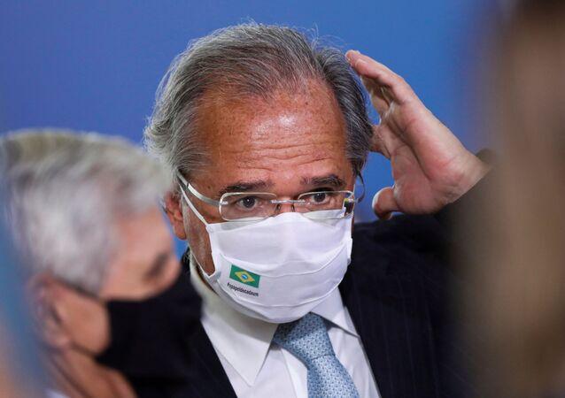 Ministro da Economia, Paulo Guedes, durante cerimônia no Palácio do Planalto
