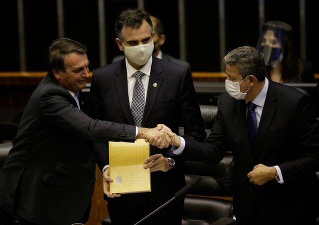 Presidente Jair Bolsonaro e os presidentes da Câmara, deputado Arthur Lira, e do Senado, senador Rodrigo Pacheco, participam de cerimônia de abertura do ano legislativo no plenário da Câmara dos Deputados