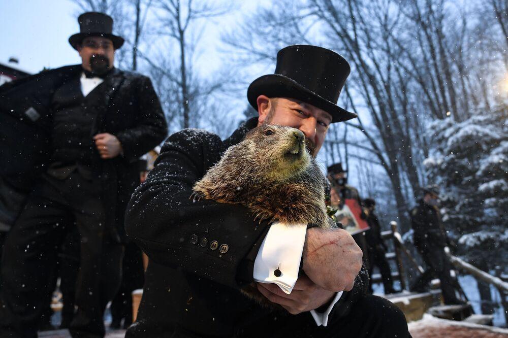 A.J. Dereume pega a marmota Phil no dia da Marmota, em 2 de fevereiro de 2021