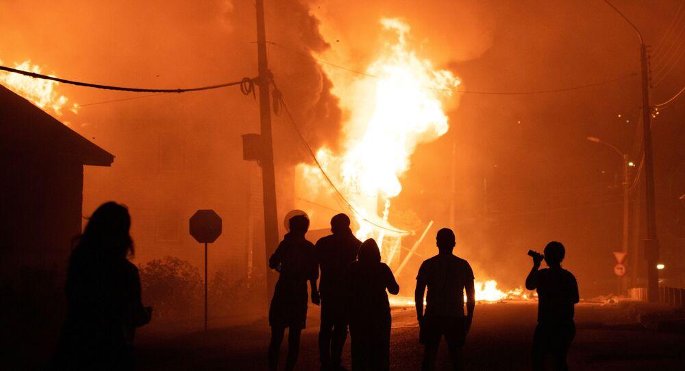 Protestos em Panguipulli, no sul do Chile