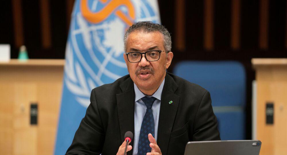 Tedros Adhanom Ghebreyesus, Diretor Geral da Organização Mundial da Saúde (OMS) fala durante a 148ª sessão do Conselho Executivo sobre o surto de COVID-19 em Genebra, Suíça