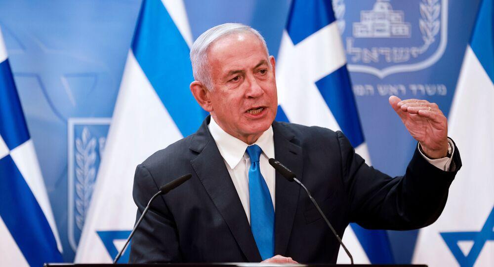 Primeiro-ministro, Benjamin Netanyahu, após reunião com seu homólogo grego, Kyriakos Mitsotakis, em Jerusalém, 8 de fevereiro de 2021