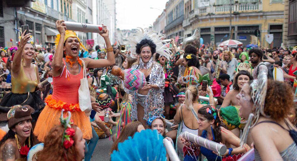 Desfile do bloco Cordão do Boi Tolo, no Centro do Rio de Janeiro, no dia 23 de fevereiro de 2020