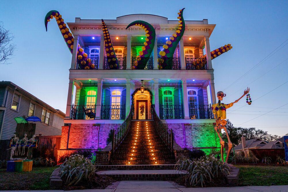 Casa decorada em Nova Orleans, EUA, 7 de fevereiro de 2021