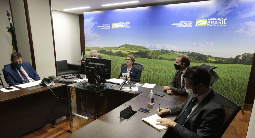 A ministra da Agricultura, Pecuária e Abastecimento (MAPA), Tereza Cristina, durante assinatura do Memorando de Entendimento de criação do Comitê Conjunto de Agricultura (CCA) Brasil-Reino Unido