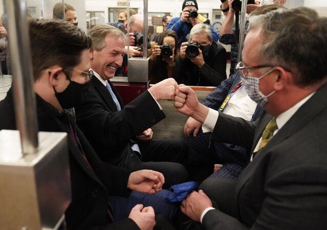 Michael van der Veen, advogado do ex-presidente Donald Trump, após uma pausa durante o segundo julgamento de impeachment do ex-presidente Trump