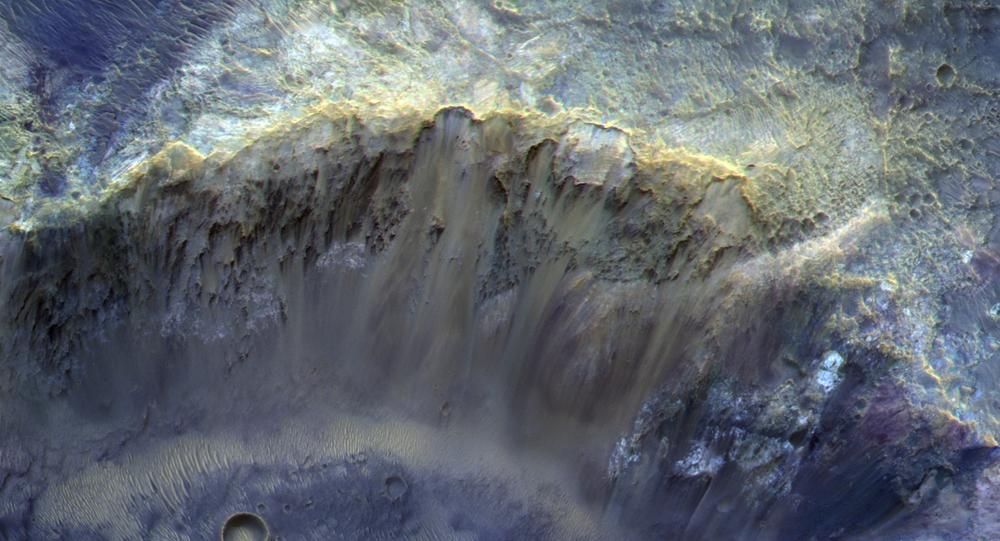 Imagem registrada da cratera na superfície de Marte