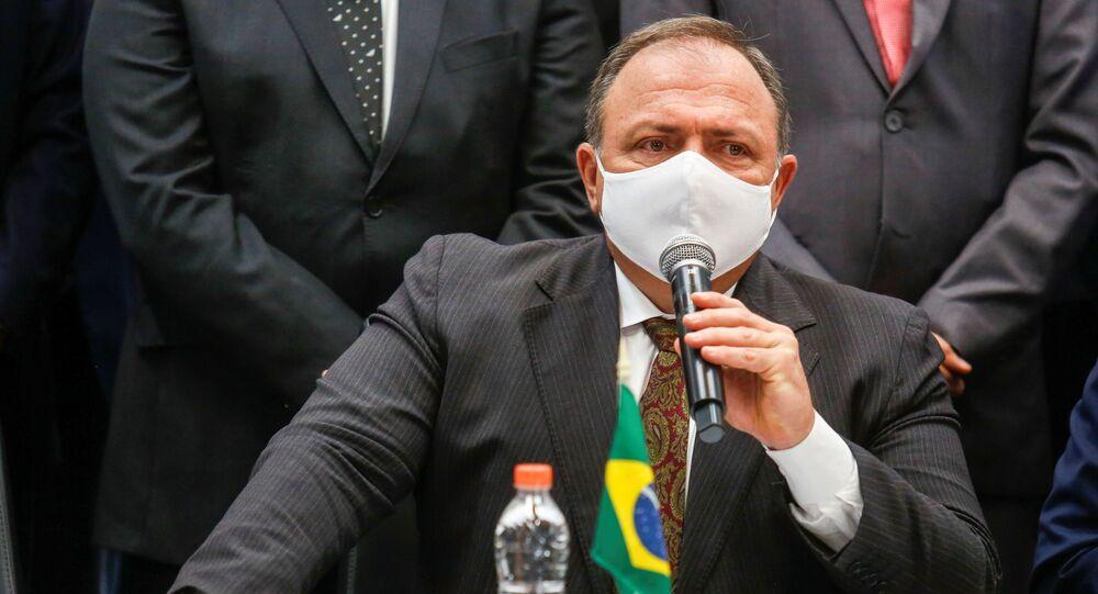 Ministro da Saúde, general Eduardo Pazuello, durante cerimônia de distribuição da CoronaVac, em São Paulo, 18 de janeiro de 2021
