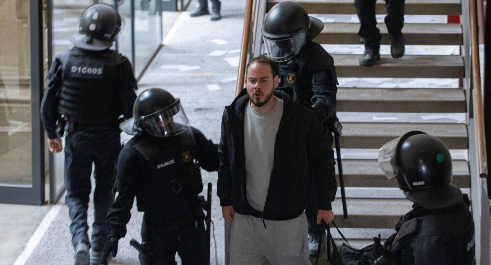 Prisão do rapper Pablo Hasél na Universidade de Lérida, na Espanha