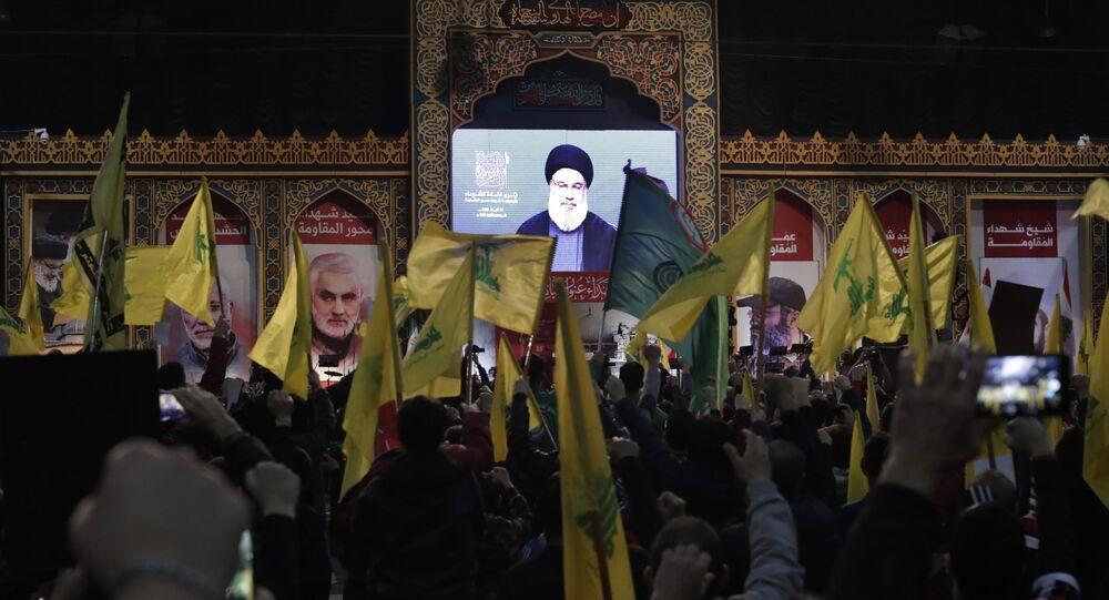Hezbollah Hassan Nasrallah fala via link de vídeo