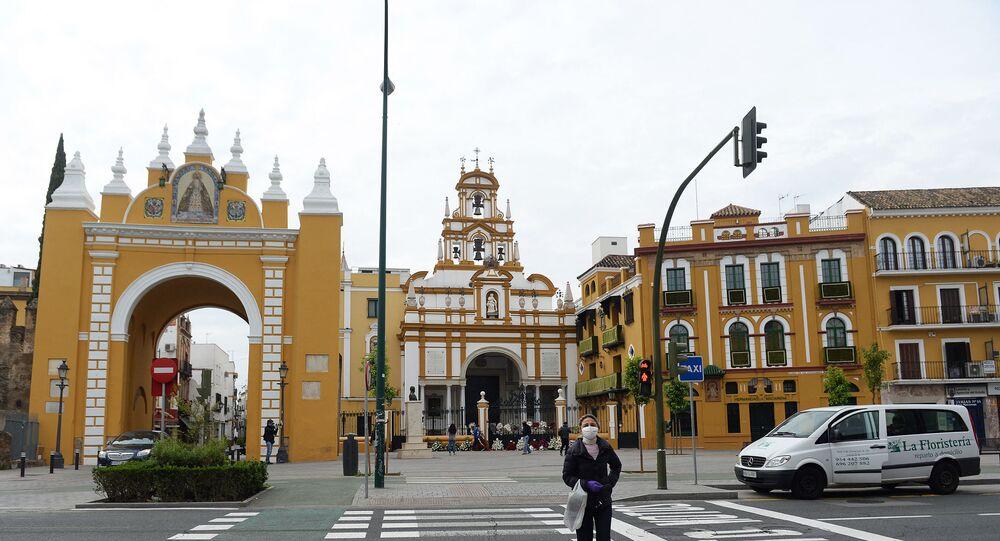 Igreja La Macarena, em 9 de abril de 2020, em Sevilha, na Espanha