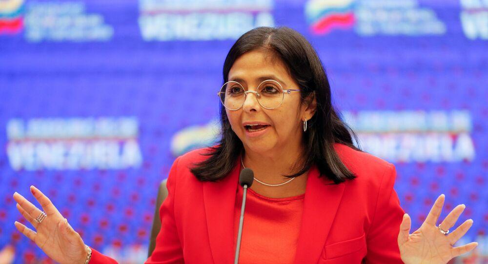 Vice-presidente da Venezuela, Delcy Rodríguez, durante coletiva de imprensa em Caracas