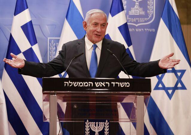Primeiro-ministro israelense, Benjamin Netanyahu, durante conferência de imprensa em Jerusalém, 8 de fevereiro de 2021
