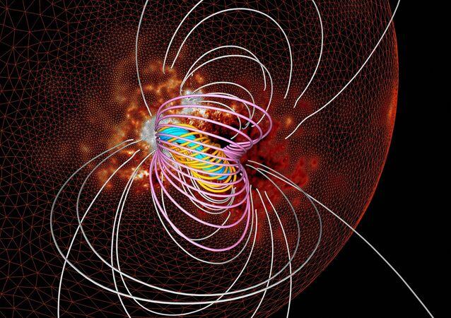 Ultrassom magnético usando dados do campo magnético na superfície do Sol e um modelo de um poderoso processo em várias escalas alguns minutos antes do início da erupção, 7 de fevereiro de 2018
