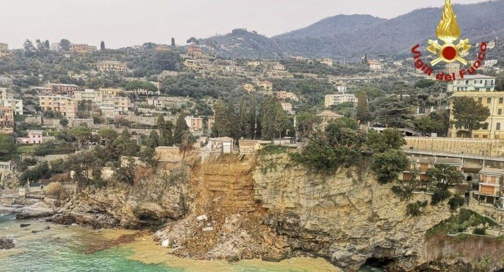 Deslizamento de terra em cemitério na comuna de Camogli, Itália