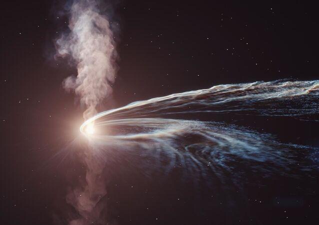 Visão do disco de acreção ao redor do buraco negro supermassivo, com estruturas semelhantes a jato fluindo para longe do disco