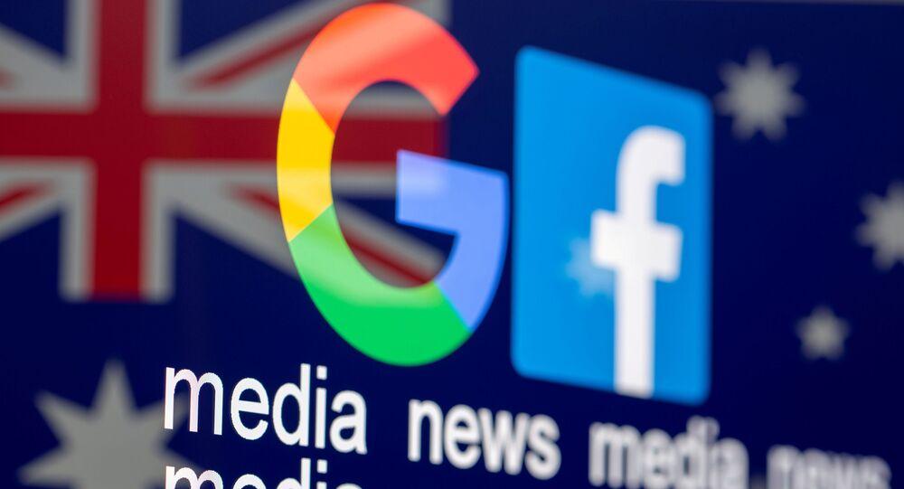 FOTO DO ARQUIVO: Logotipos de Google e Facebook, as palavras mídia, notícias, mídia e a bandeira australiana são exibidos nesta foto de ilustração