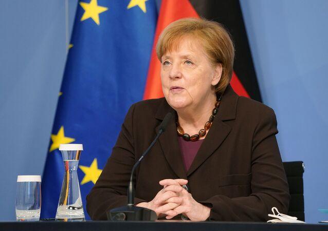 Chanceler alemã, Angela Merkel, durante conferência de imprensa em Berlim, Alemanha, 24 de fevereiro de 2021
