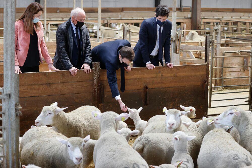 Presidente da França, Emmanuel Macron, durante sua visita à granja La Ferme d'Etaules