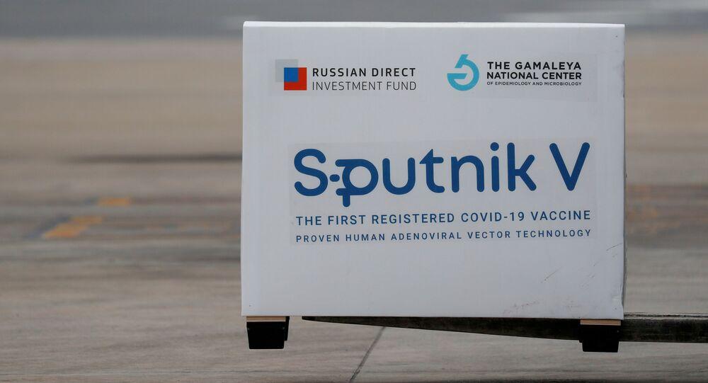 Um carregamento de vacinas Sputnik V desembarca em Buenos Aires, na Argentina, no dia 28 de janeiro de 2021.