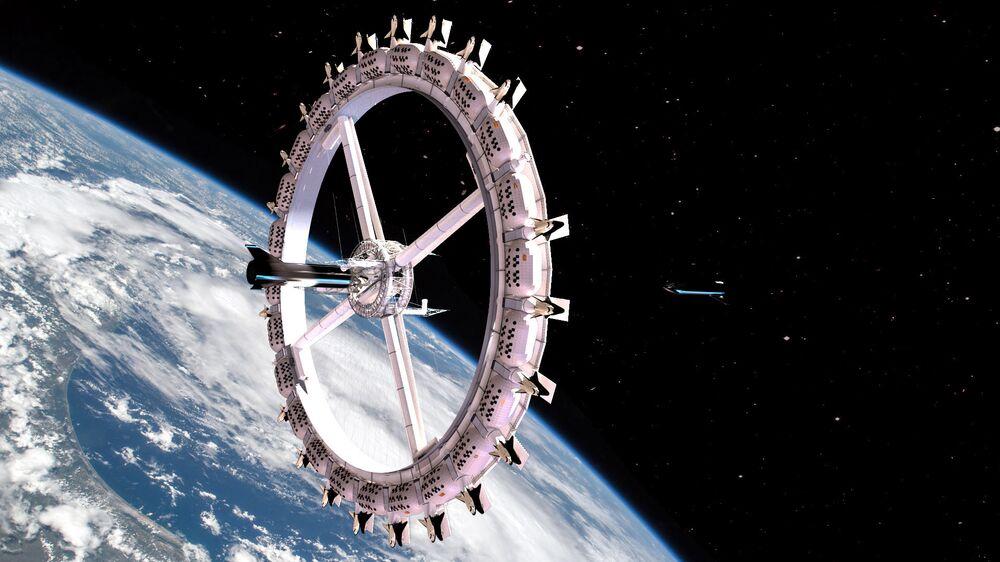 Foguete SpaceX Starship se aproxima da estação espacial Voyager