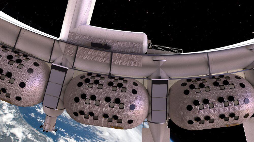 Vista de perto para os módulos de habitação da Voyager que têm 20 metros de longitude
