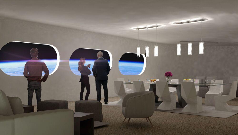 Sala de jantar do quarto Luxury Villa na estação espacial Voyager