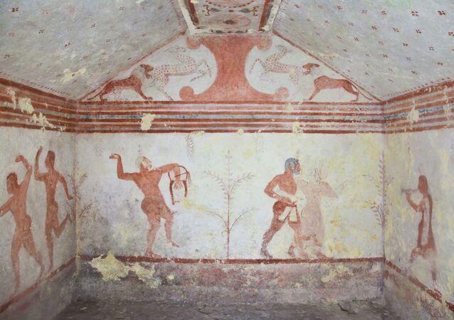 Pinturas ancestrais datadas de 470 a.C., em Tarquinia, da região do Lácio, na Itália