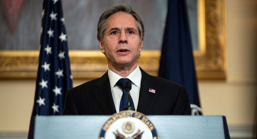 Secretário de Estado dos EUA, Antony Blinken, discursa na sede do Departamento de Estado, Washington, EUA, 3 de março de 2021