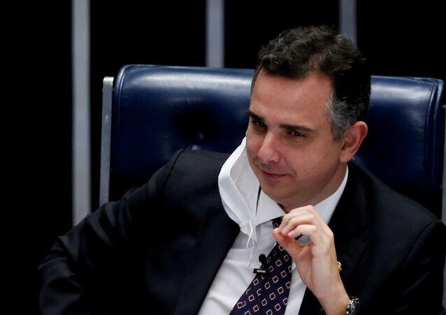 Presidente do Senado, Rodrigo Pacheco (DEM-MG), durante sessão no Congresso Nacional, Brasília, 3 de março de 2021