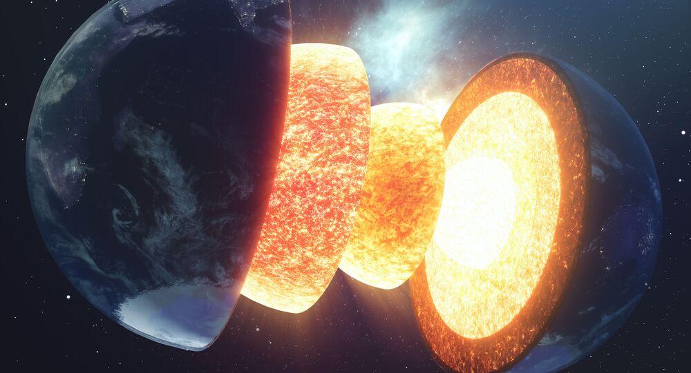 Estrutura do núcleo da Terra em imagem criada pela NASA