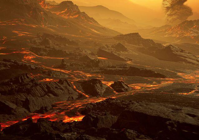 Ilustração artística da superfície do novo exoplaneta Gliese 486 b