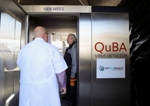 Teste sonoro de coronavírus em Amsterdã, Países Baixos, 1º de março de 2021