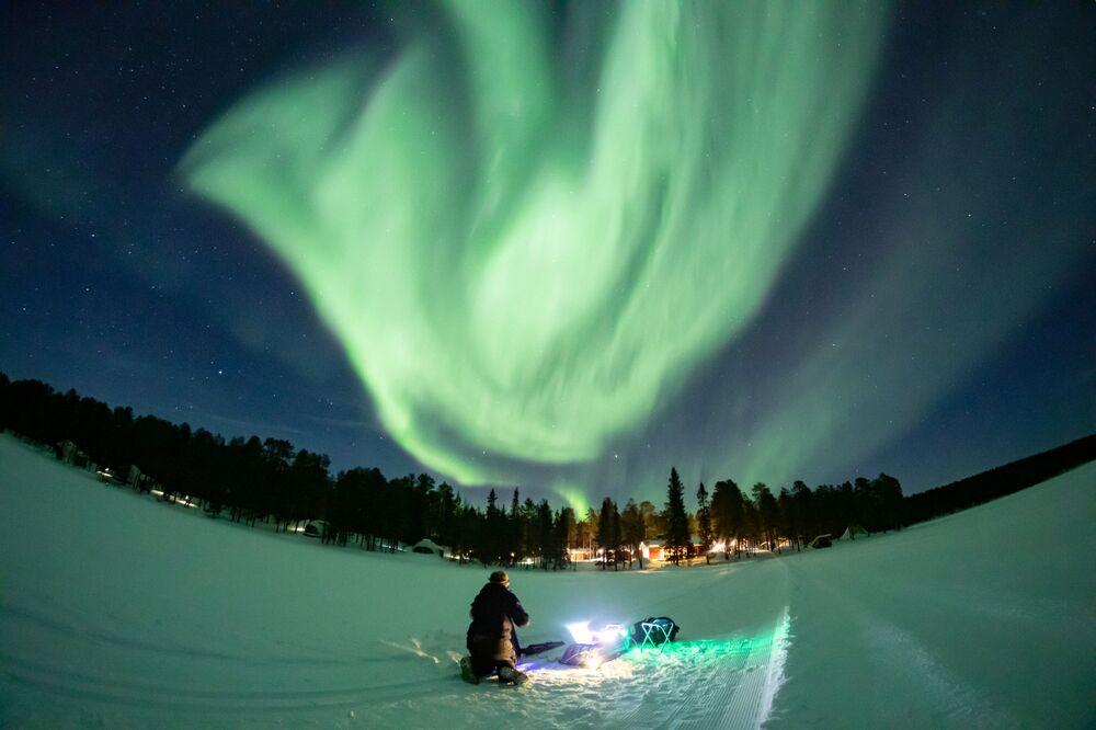 Aurora boreal na Lapônia, Finlândia, 2 de março de 2021