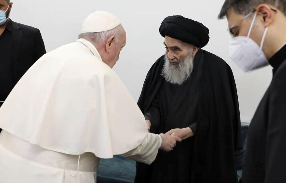 Papa Francisco durante a reunião com o aiatolá Ali al-Sistani, no Iraque