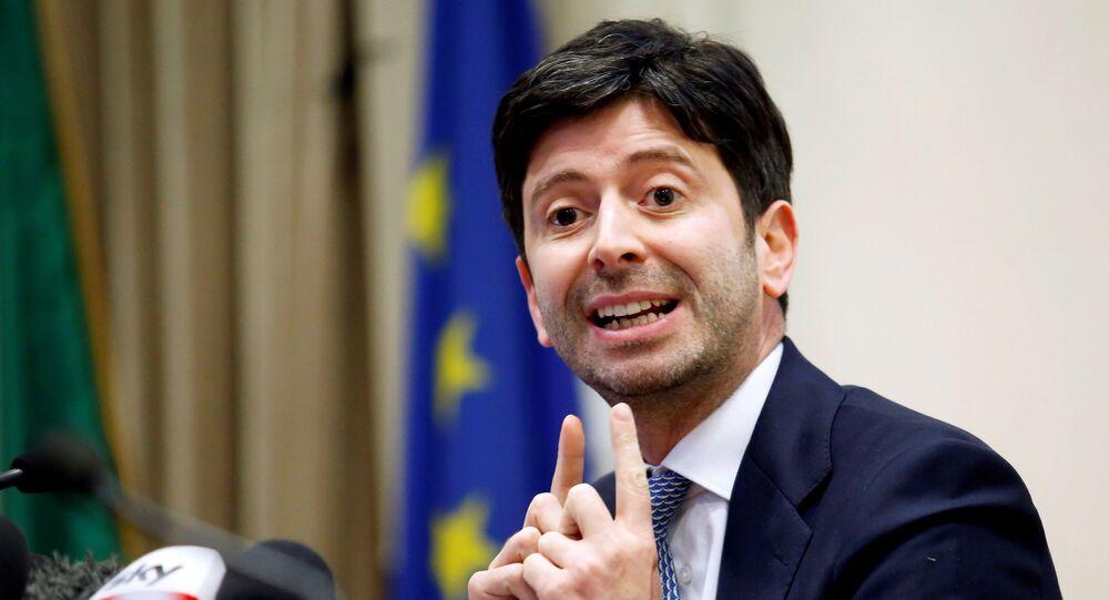 O ministro da Saúde da Itália, Roberto Speranza, durante coletiva de imprensa.