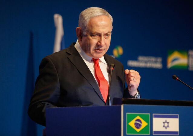 Primeiro-ministro israelense, Benjamin Netanyahu, durante evento de agência de promoção de exportações brasileira em Jerusalém, 15 de dezembro de 2019 (foto de arquivo)