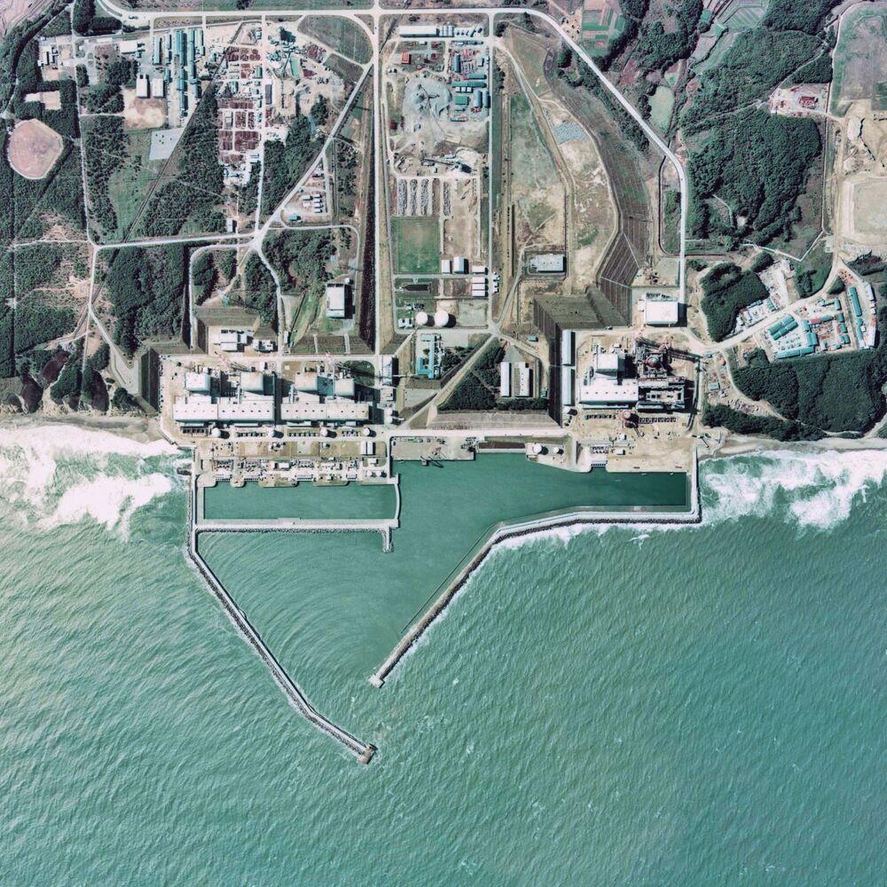 Vista aérea para os reatores da usina nuclear japonesa de Fukushima Daiichi, 1975