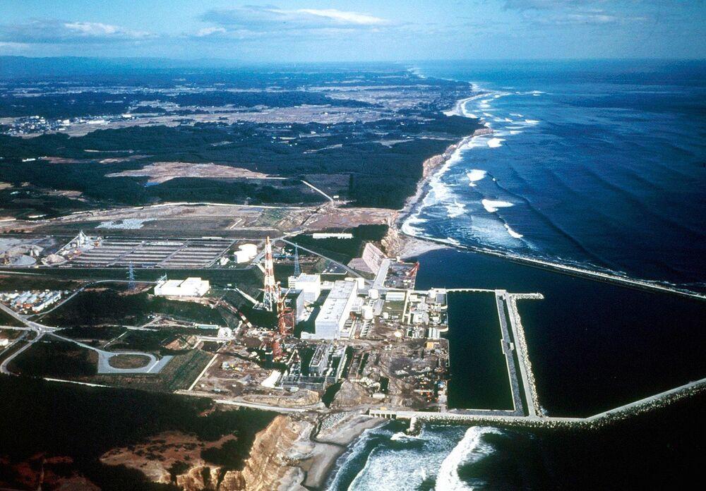 Vista aérea para a usina nuclear japonesa de Fukushima Daiichi, 1971
