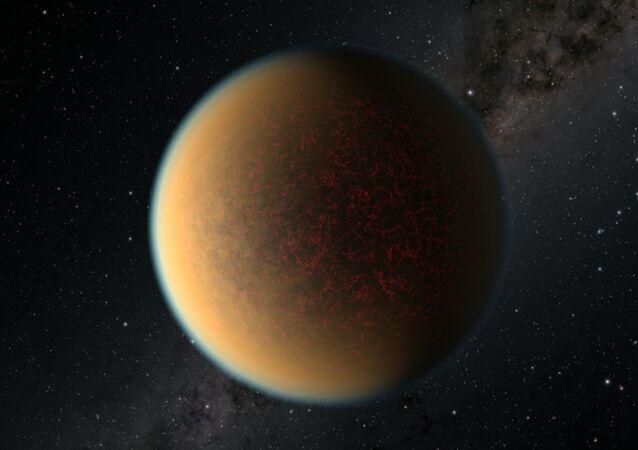 Esta é uma impressão artística do exoplaneta rochoso do tamanho da Terra GJ 1132 b, localizado a 41 anos-luz de distância em torno de uma estrela anã vermelha. Cientistas usando o telescópio espacial Hubble da NASA encontraram evidências de que este planeta pode ter perdido sua atmosfera original, mas ganharam uma segunda que contém uma mistura tóxica de hidrogênio, metano e cianeto de hidrogênio