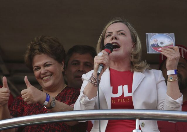 Deputada federal do Partido dos Trabalhadores, Gleisi Hoffmann durante ato em 2018 contra prisão do ex-presidente Luiz Inácio Lula da Silva