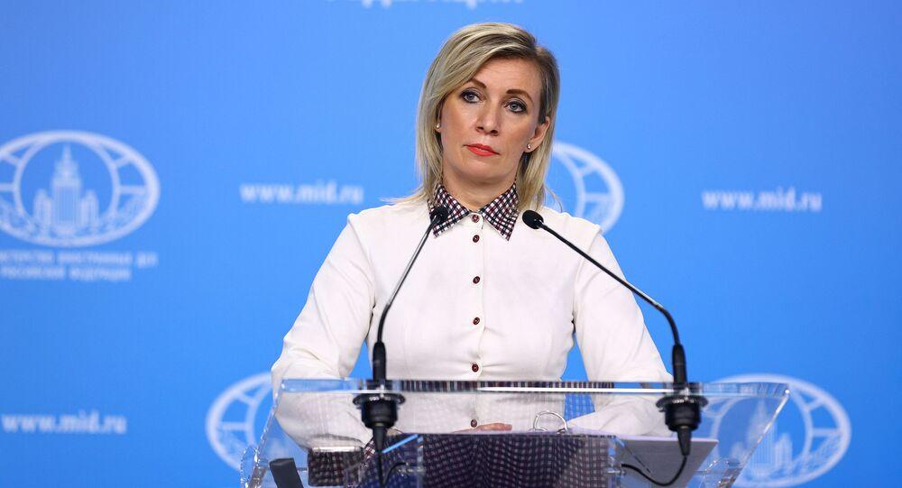 Maria Zakharova, representante oficial do Ministério das Relações Exteriores da Rússia, participa de briefing em Moscou, Rússia, 11 de fevereiro de 2021