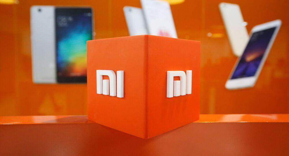 Logotipo da Xiaomi dentro do escritório da empresa em Bengaluru, Índia, 18 de janeiro de 2018