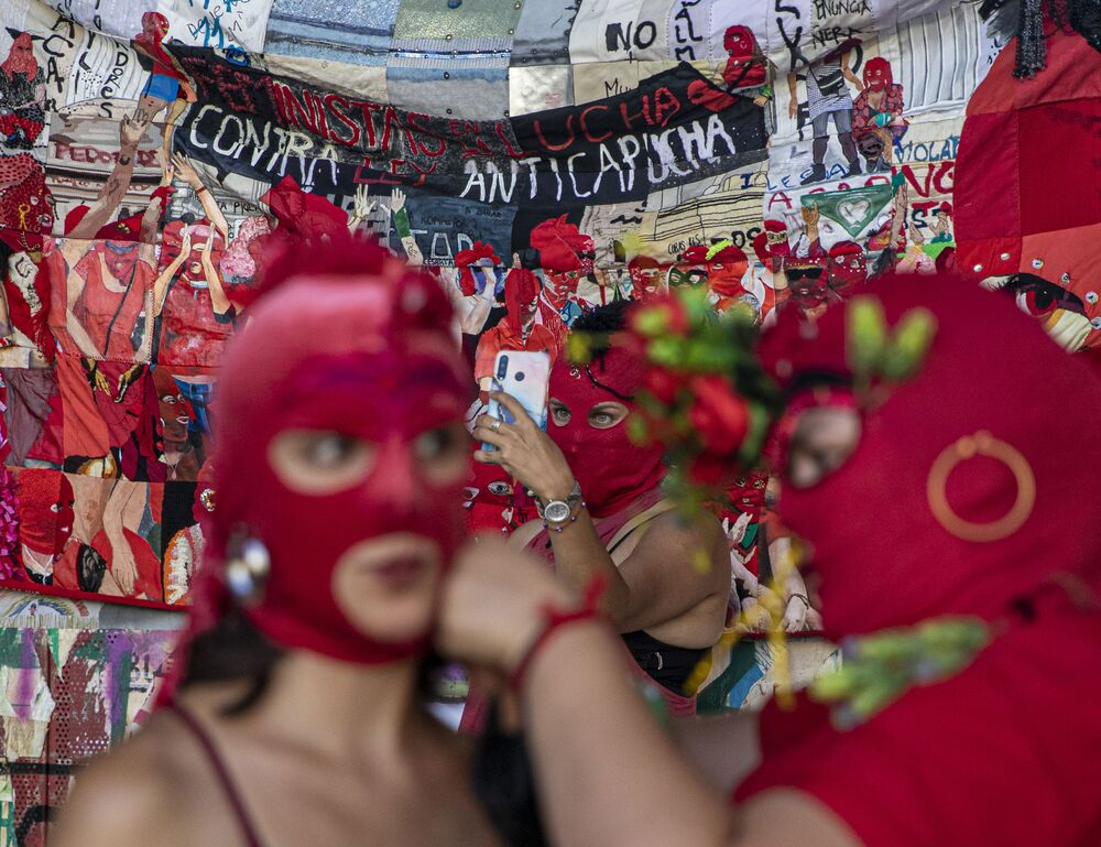 Marcha em homenagem pelo Dia Internacional da Mulher em Santiago, Chile