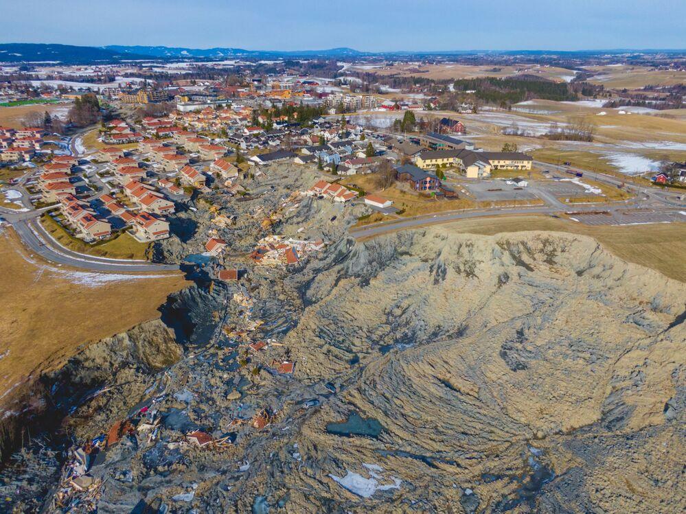 Povoamento de Ask, na Noruega, afetado por deslizamento de terra