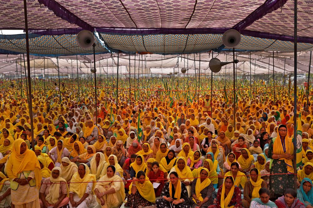 Mulheres agricultoras em protestos na Índia