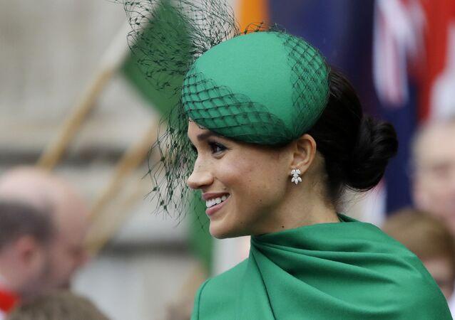 Meghan Markle, duquesa de Sussex, deixa a abadia de Westminster em Londres, Reino Unido, 9 de março de 2020