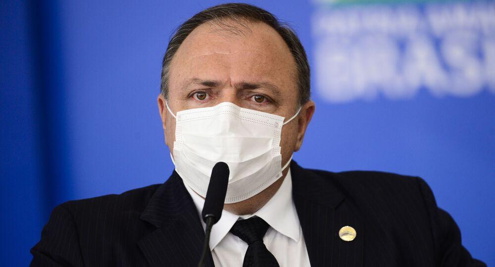 O ministro da Saúde, Eduardo Pazuello, durante cerimônia para sanção dos projetos de lei que ampliam a aquisição de vacinas pelo Governo Federal.