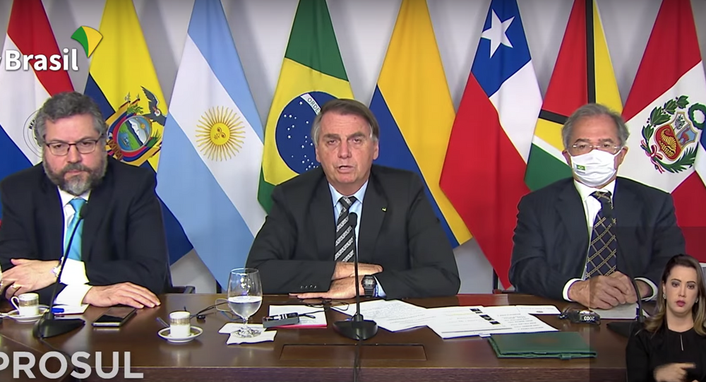 Presidente Jair Bolsonaro participa de reunião virtual do Prosul em 16 de março de 2021.