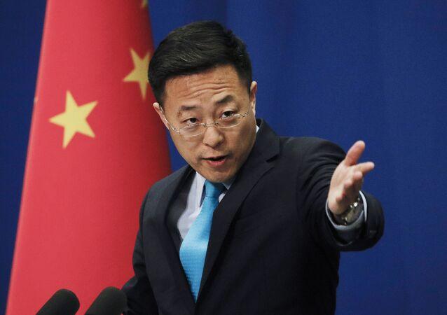 Zhao Lijian, porta-voz do Ministério das Relações Exteriores da China, em 20 de fevereiro de 2020